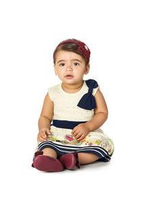 Vestido Infantil Kamylus Renda E Laço 100% Algodão