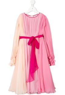 Dolce & Gabbana Kids Vestido Degradê Com Pregas - Rosa