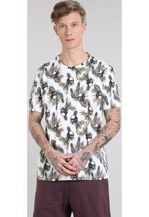 Camiseta Masculina Estampada De Abacaxis Com Caveiras Manga Curta Gola Careca Off White