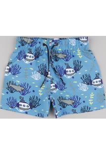 Bermuda Surf Infantil Estampada Fundo Do Mar Com Bolso Azul