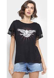 Camiseta Colcci Estampada Tela Feminina - Feminino-Preto