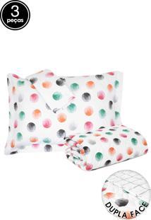 Kit 3Pçs Cobreleito Santista Dupla Face Home Design Petit Cinza