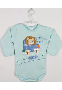 Body Bebê Manga Longa Leão - Masculino-Azul