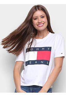 Camiseta Tommy Jeans Tommy Flag Tee Feminina - Feminino-Branco