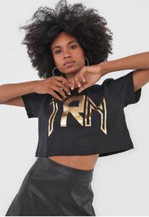 Camiseta Cropped Triton Lettering Metalizada Preta - Kanui