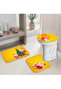 Jogo Tapetes Para Banheiro Cute Noel Yellow