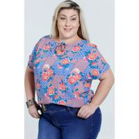 5c80d8f10c0 Blusa Feminina Plus Size Estampa Floral Marisa