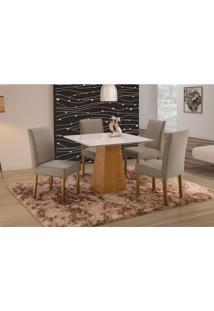 Conjunto De Mesa De Jantar Com 4 Cadeiras E Tampo De Madeira Maciça Turquia Ii Suede Cinza E Off White