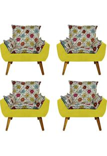 Kit 4 Poltronas Decorativas Kasa Sofá Opala Floral Dohler Amarelo