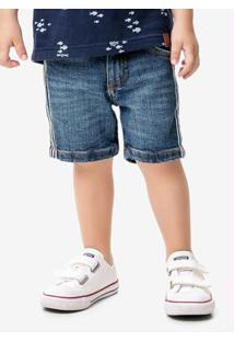 Bermuda Azul Jeans Recorte Lateral Malwee Teen