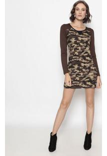 Vestido Camuflagem Com Recortes- Preto & Marrom- Opeoperate