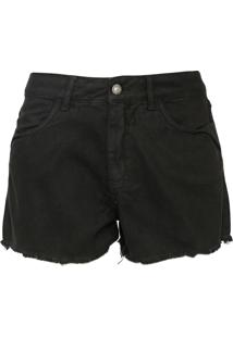 Short Sarja Mercatto Desfiado Preto