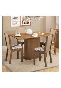 Conjunto Sala De Jantar Madesa Talita Mesa Tampo De Madeira Com 4 Cadeiras Marrom