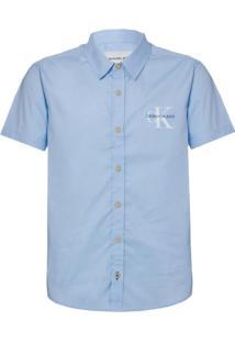 Camisa Mc Ckj Com Silk Re Issue - Azul Claro - 10
