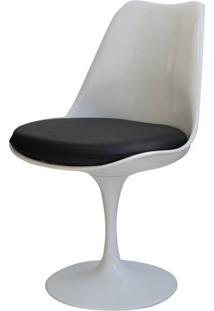Cadeira Saarinen Branca (Com Almofada Preta) - 15045 - Sun House
