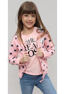 Blusão Infantil Em Moletom Estampado Gatinho Com Capuz Rosa Claro