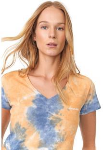 Camiseta Aeropostale Tie Dye Laranja/Azul