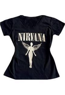 Camiseta Nirvana Feminina - Feminino-Preto