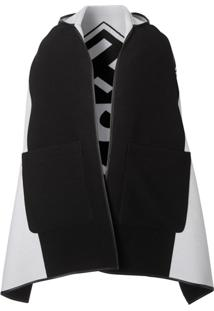 Burberry Plerine Jacquard Em Lã E Algodão Com Capuz E Logo - Preto