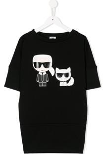 Karl Lagerfeld Kids Vestido Com Estampa Karl - Preto
