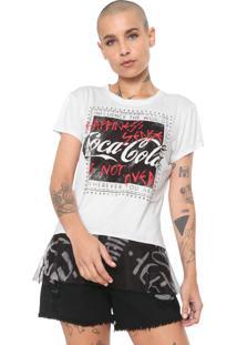 Camiseta Coca-Cola Jeans Tule Branca