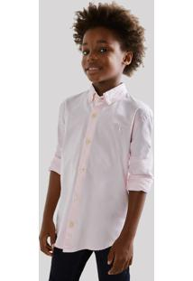 Camisa Mini Oxford Ml Reserva Mini Rosa - Kanui