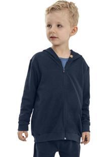 Jaqueta Infantil Em Moletom Azul