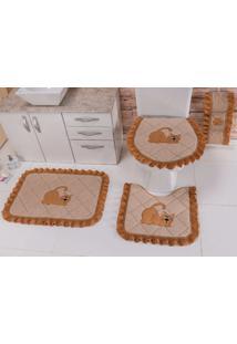 Jogo De Banheiro Heloisa Confecções Atoalhado Bordado Elegance 03 Peças Gato Caramelo