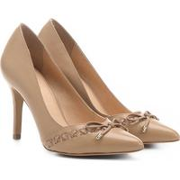 3b7379f1a9 Scarpin Couro Shoestock Salto Alto Trançado - Feminino-Bege