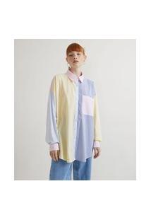 Camisa Em Tricoline Alongada Com Listras E Bloco De Cores   Blue Steel   Amarelo   P