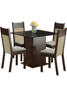 Conjunto Sala De Jantar Madesa Mesa Com Tampo De Vidro E 4 Cadeiras Miami - Tabaco/ Pérola