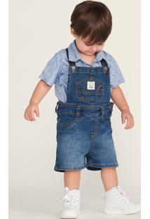 Jardineira Jeans Infantil Bebê Menino
