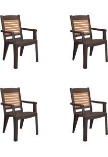 Conjunto Com 4 Cadeiras De Jardim Winston Bronze