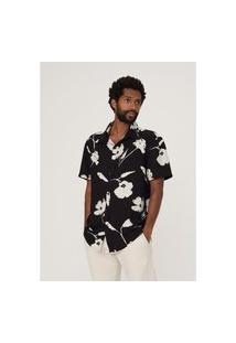 Camisa Hering Estampada Em Tecido De Viscose Preto