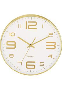 Relógio De Parede- Branco & Dourado- Ø35,5X5,5Cmmart