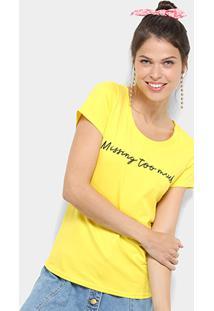 Camiseta Top Moda Básica Missing Too Much Feminina - Feminino-Amarelo