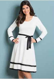 Vestido Evasê Off White E Preto Moda Evangélica