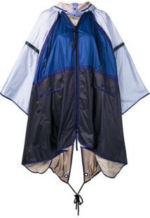 Moncler Pelerine Color Block Com Capuz - Azul