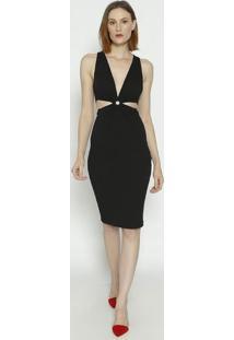 Vestido Texturizado Com Recortes- Preto- Colccicolcci