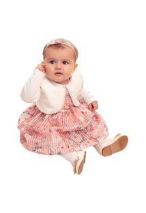 Vestido Infantil Paraiso Fitado Floral E Bolero Suedine Rosa