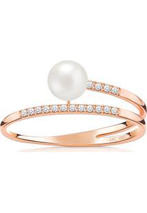Anel Em Ouro Rosé 18K Com Diamante, Pérola 17
