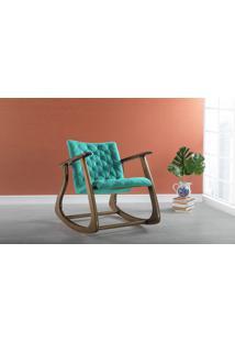 Cadeira De Balanço Smith 65X83X72Cm - Verniz Capuccino \ Tec.950 - Turquesa