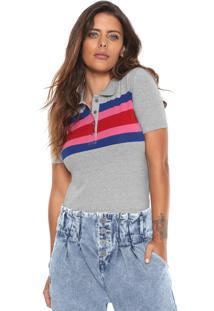 Camisa Polo Calvin Klein Jeans Listras Cinza 0dce91bb34a49