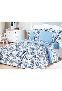 Jogo De Cama Murano King Azul Floral Com 3 Peças - Aquarela