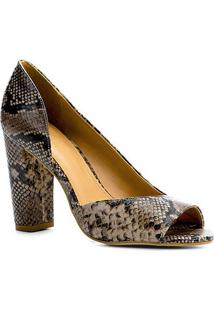 Peep Toe Couro Shoestock Salto Alto Snake - Feminino-Cinza