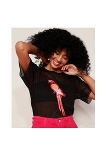Camiseta De Tela Feminina Ampla Com Patch De Papagaio Manga Curta Decote Redondo Preta