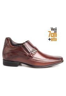 Sapato Social Masculino Couro Bico Quadrado Aumenta Altura Mogno