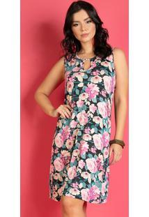Vestido Floral Rosa Com Amarração Costas