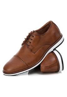 Sapato Derby Couro Tchwm Shoes Masculino Conforto Dia Dia Marrom Claro 43 Marrom