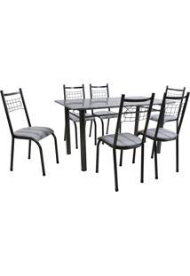 Conjunto De Mesa Granada Com 6 Cadeiras Lisboa Preto Prata E Preto Listrado
